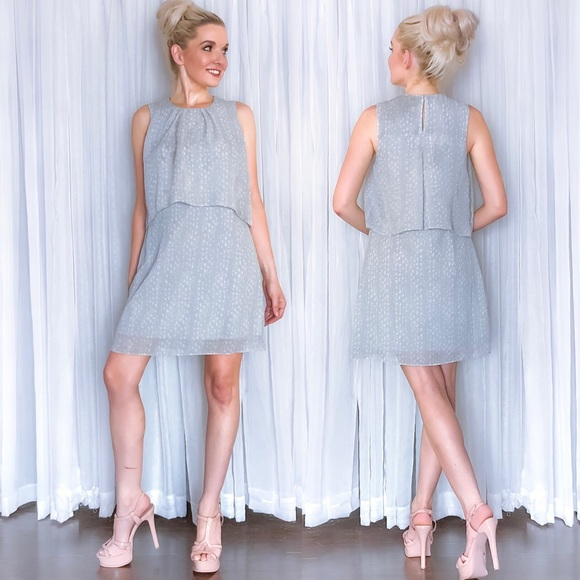 Dresses & Skirts - Grey Polka Dot Contemporary Career Work Dress